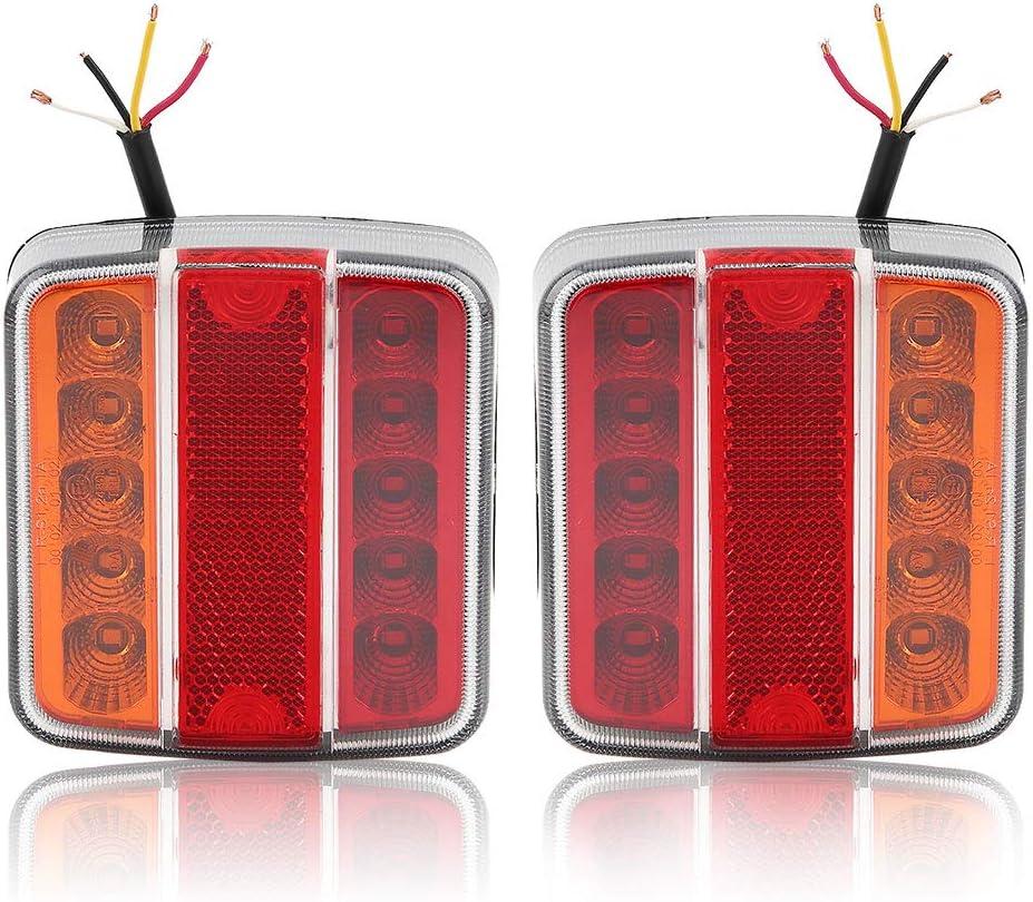 Hawkeye 2 Pcs Luz trasera del remolque 4 funciones Lámpara de LED impermeable para camioneta (ámbar & Rojo, Cuadrado)