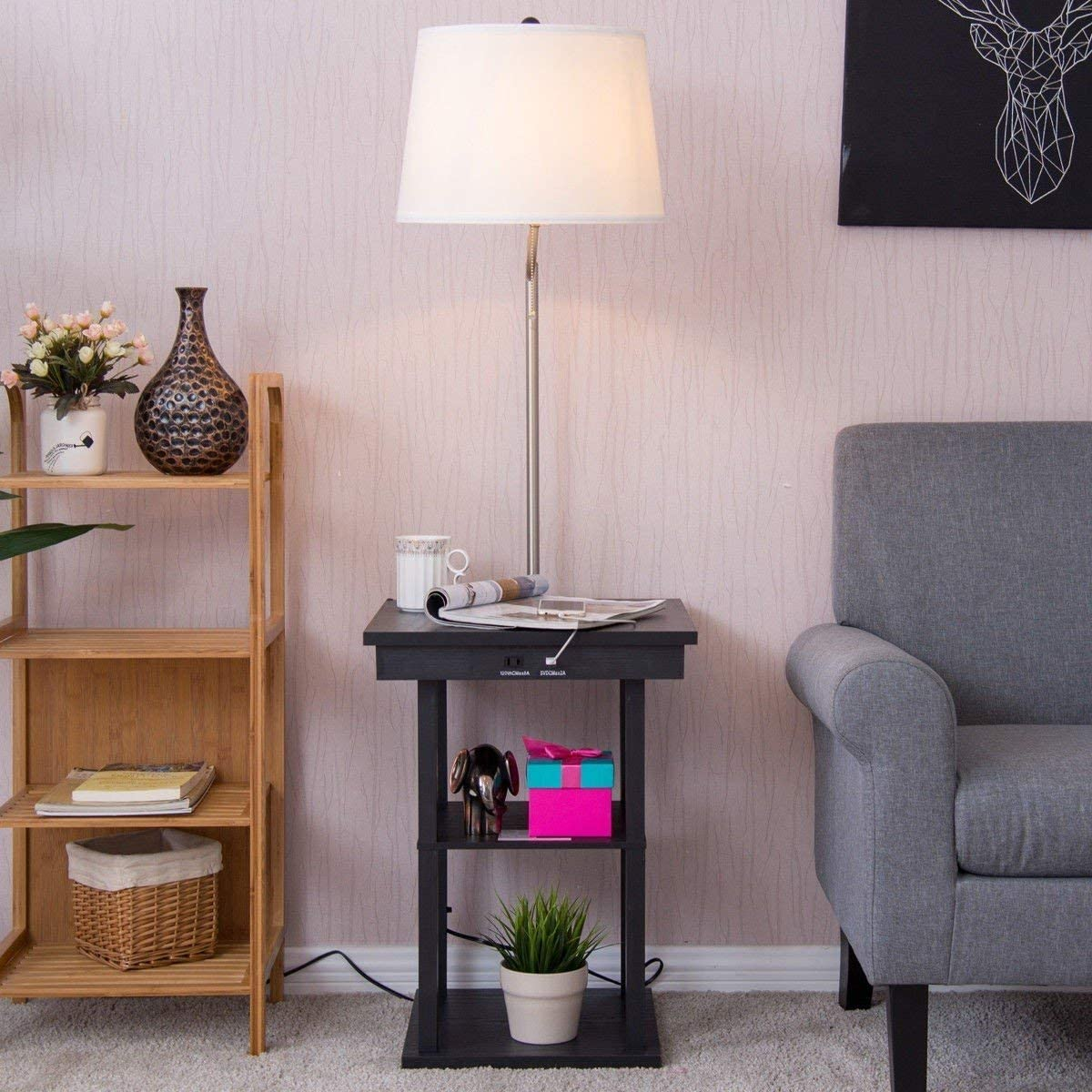 Built in End Table Swing Arm Floor Lamp with Shade 2 USB Ports, Bedside Table Lamp for Bedroom & Side Table Lamp, Living Room BeUniqueToday