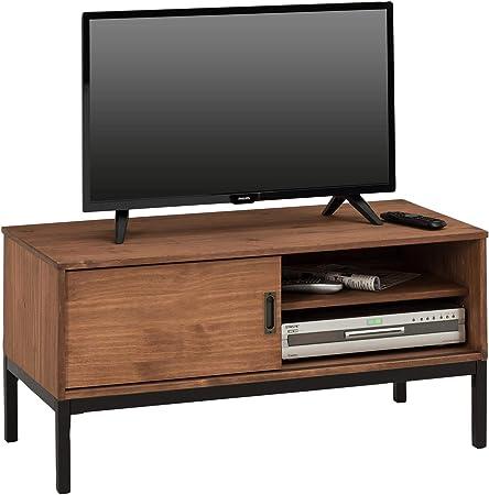 IDIMEX Mueble TV Selma Banco Televisión Estilo Industrial Design Vintage con 1 Puerta corrediza y 2 estantes con Estante, en Pino Maciza marrón Oscuro: Amazon.es: Hogar
