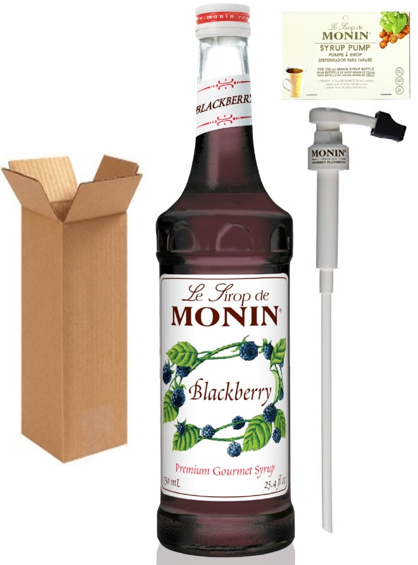 Monin Blackberry Syrup, 25.4-Ounce (750 ml) Glass Bottle with Monin BPA