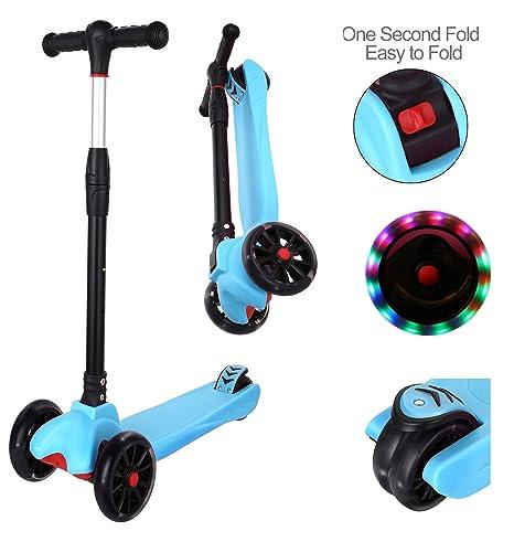 AIMADO - Patinete de 4 ruedas para niños y niñas, altura ...