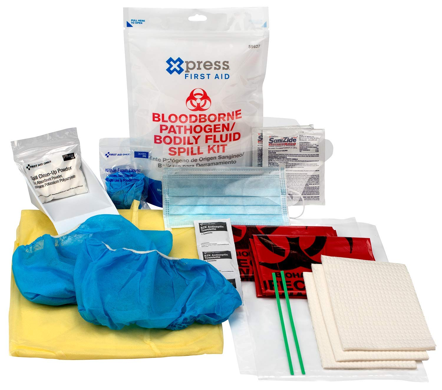 Bloodborne Pathogen Kit Bodily Spill and Response Kit Single Person Clean up Kit