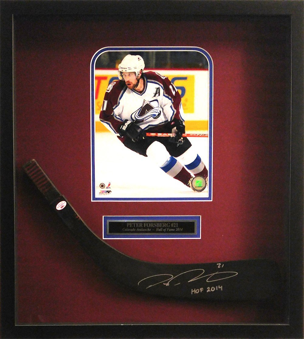 "Peter Forsberg Signed Autographed and Inscribed""HOF 2010"" Stick Blade w/Nameplate, Photo & Shadowbox"