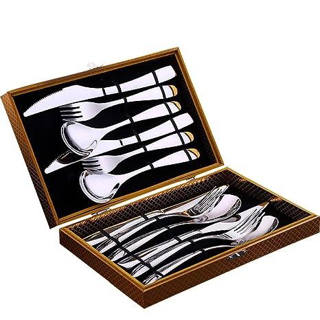 Cubiertos de Mesa Cubiertos de acero inoxidable estilo europeo cubertería (acero inoxidable 304, AU