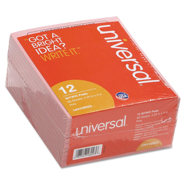 Universal 48023 WYWO Pink Message Pads, 4-1/4 x 5-1/2, 50 Sheets/Pad, 1-Dozen