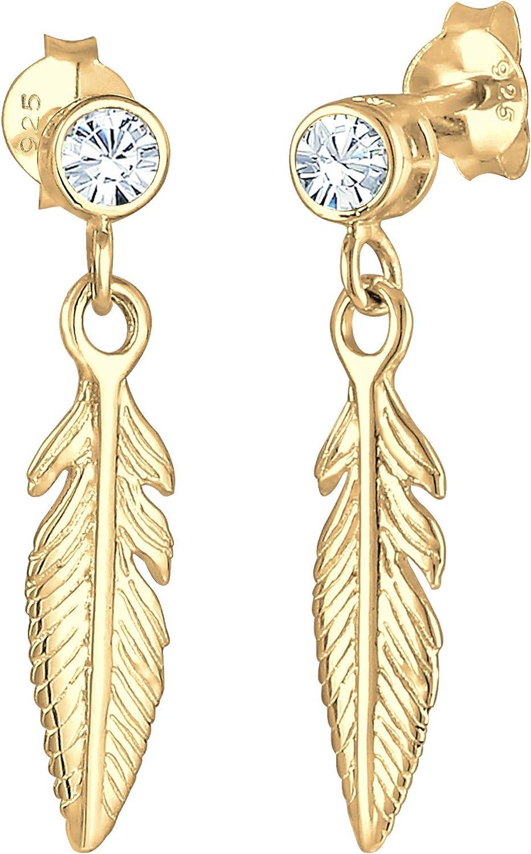 Elli - Pendientes para mujer con colgante de pluma bohemio y cristales Swarovski en plata de ley 925