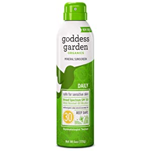 Goddess Garden - Daily SPF 30 Mineral Sunscreen Continuous Lotion Spray - Sensitive Skin, Reef Safe, Sheer Zinc & Titanium, Water Resistant, Non-Nano, Vegan, Leaping Bunny Cruelty-Free - 6 oz Bottle