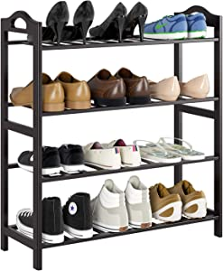 Homfa Bamboo Shoe Rack 4-Tier Entryway Shoe Shelf Storage Organizer for Home Office, Easy to Assemble, Retro Color