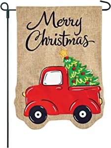 Twisted Anchor Trading Co Christmas Garden Flag - Vintage Truck Holiday Garden Flags - Merry Christmas w 3D Accents - 12x18 Home Garden Flag