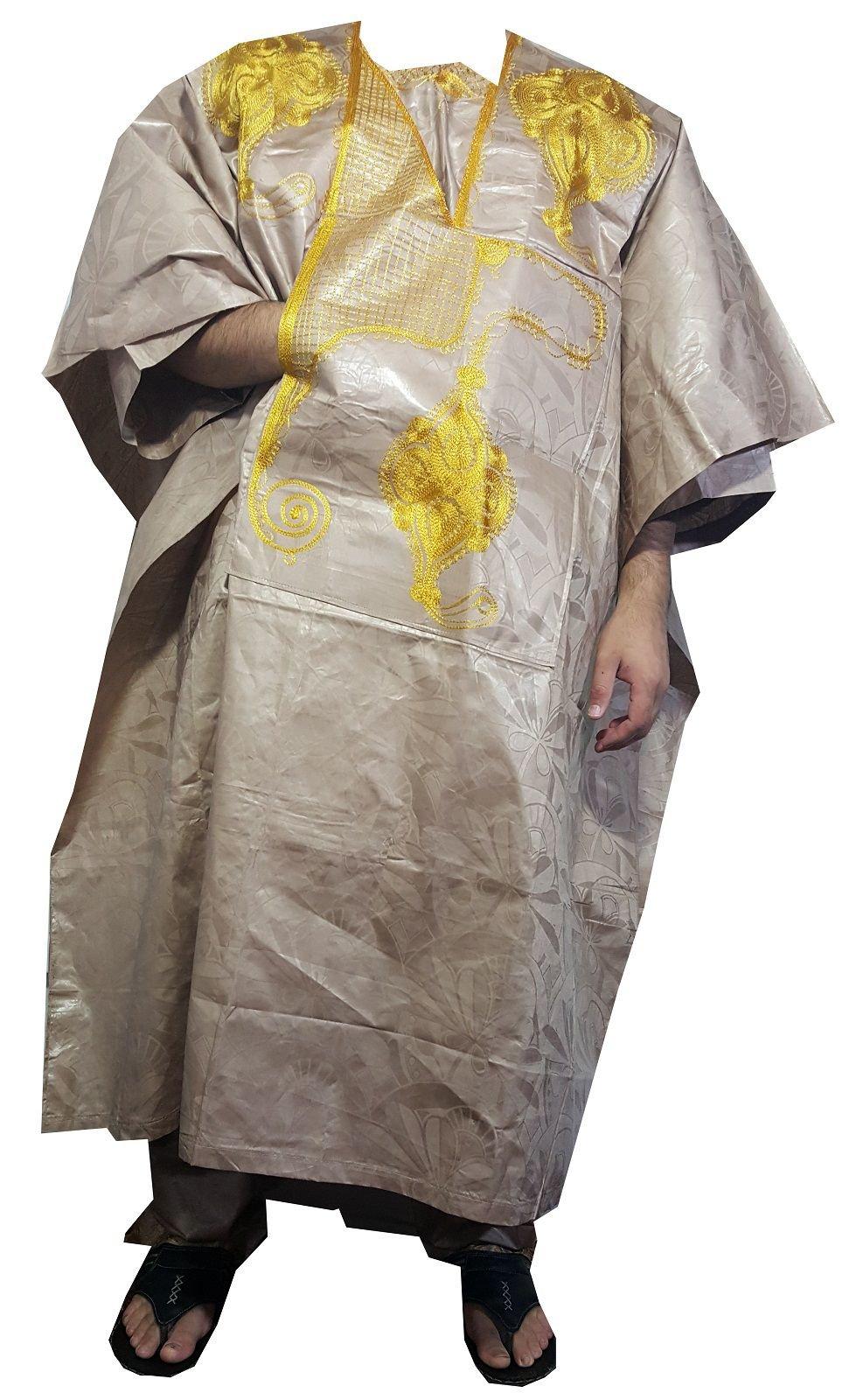 DecoraApparel African Grand bou bou Bubu pant set Men's Dashiki 4 Piece Cotton Suit Solid Colors by Decoraapparel (Image #1)