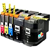 TS 5 PK Compatible Ink Cartridges for Brother LC20E LC-20E (2 Black, 1 Yellow, 1 Magenta, 1 Cyan) for Multifunction Printers MFC-J5920DW, MFC-J985DW