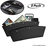 lebogner Black Gap Filler Premium PU Full Leather Console Pocket Organizer, Interior Accessories, Car Seat Side Drop…
