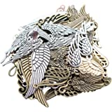 LAOZHOU 100 Gram Assorted Antique Feather and Wing Charms Pendant Bracelet Necklace Earrings Crafting DIY Jewelry Making Accessory(Feather and Wing)