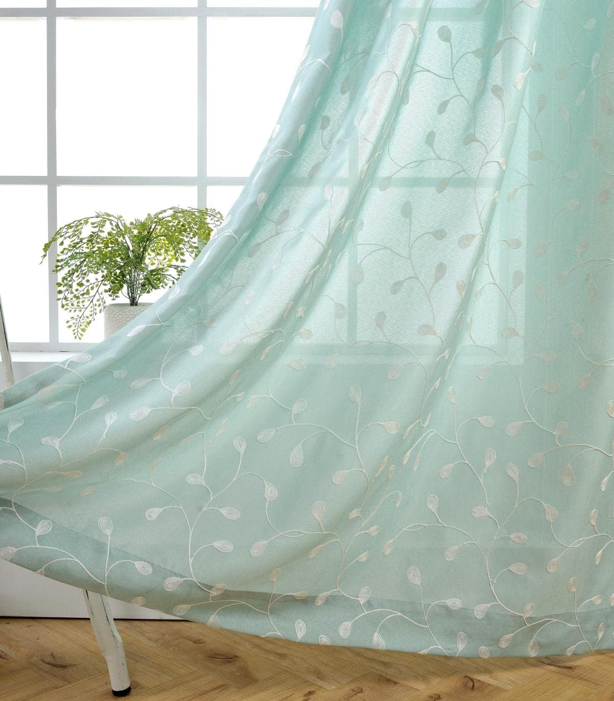 MIUCO Floral Embroidery Semi Sheer Curtains Faux Linen Grommet Panels for Living Room 52 x 84 Inch 2 Panels Set, Subtle Green
