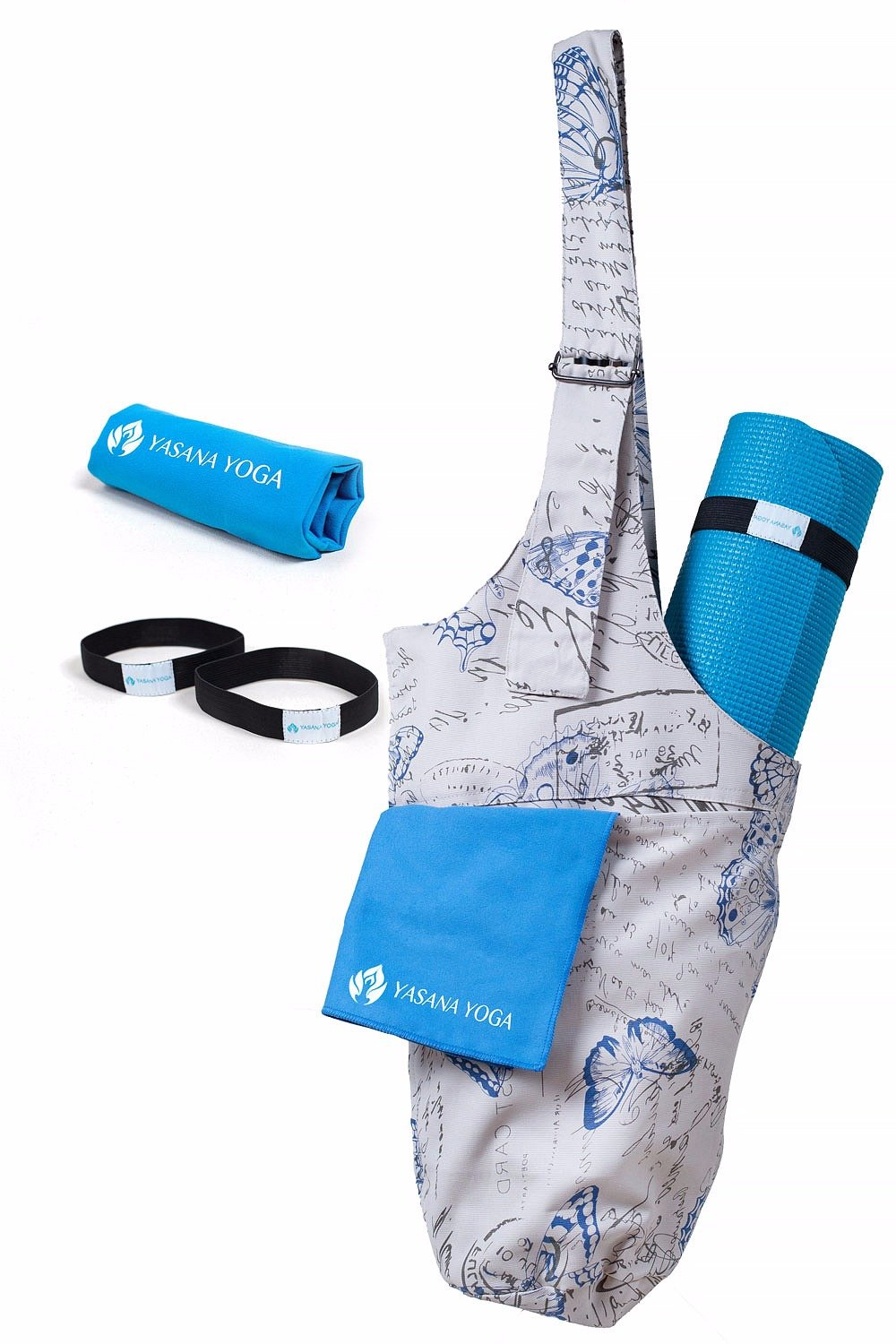 Yoga Mat Bag Sling Tote - with Adjustable Shoulder Strap & 2 Pockets | Includes 1 Microfiber Towel and 2 Elastic Straps | Fits Most Size Mats | Beautiful Butterfly Pattern