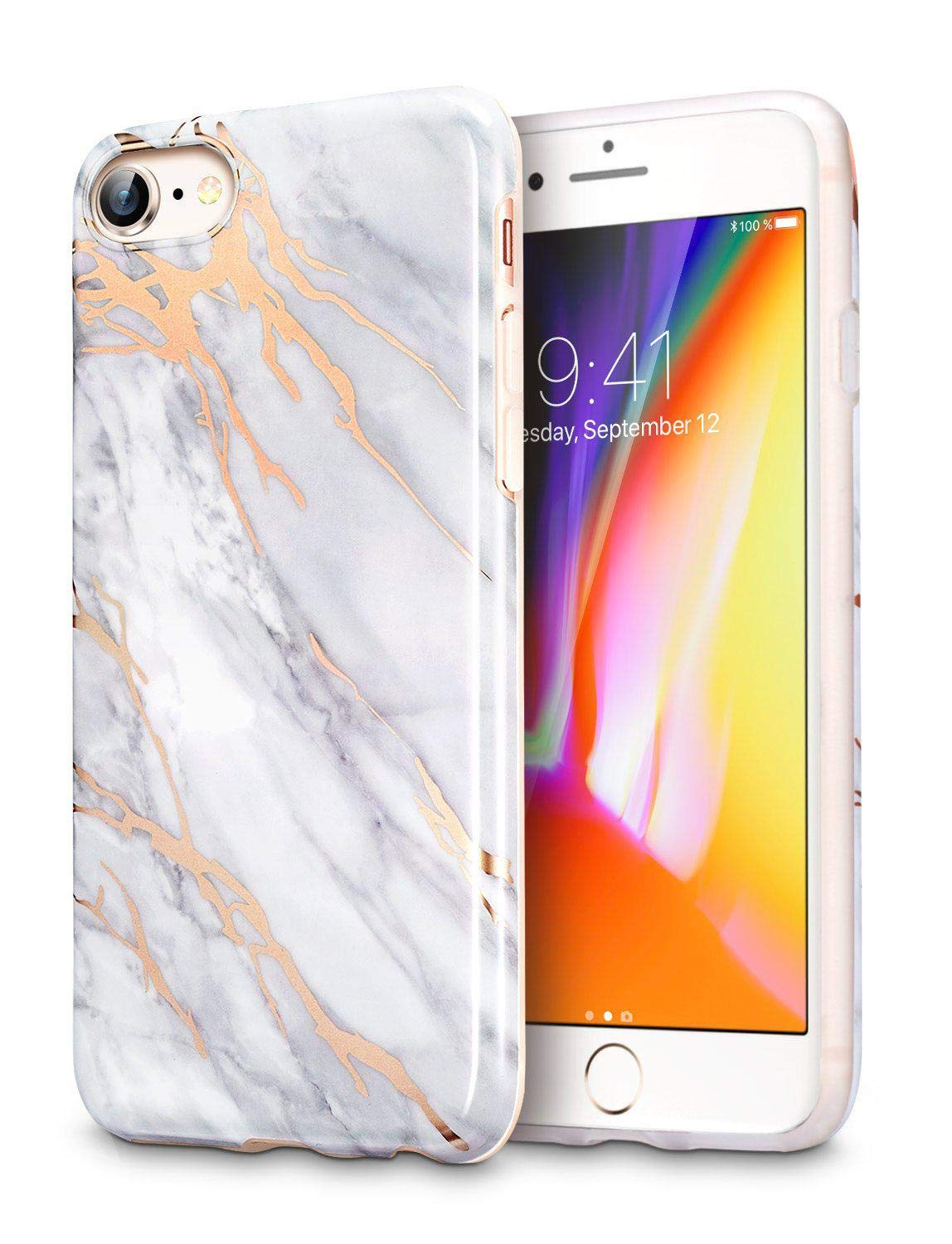 hot sale online b3afa e2850 Apple Phone 7 Case, iPhone 8 Case ESR Marble Pattern Design TPU Soft Rubber  Silicone Phone Cover - Grey Gold Sierra