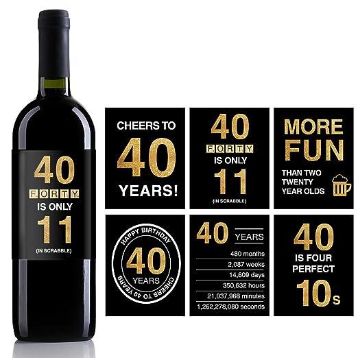 Etiquetas adhesivas para botella de vino de 40 cumpleaños ...
