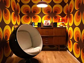 Retro Tapete 70er Jahre Big Circle Braun Orange Gelb Wand ...
