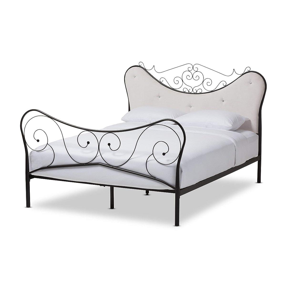 Baxton StudioAlanna Queen Size Chic Metal Platform Bed with Beige Tufted Headboard
