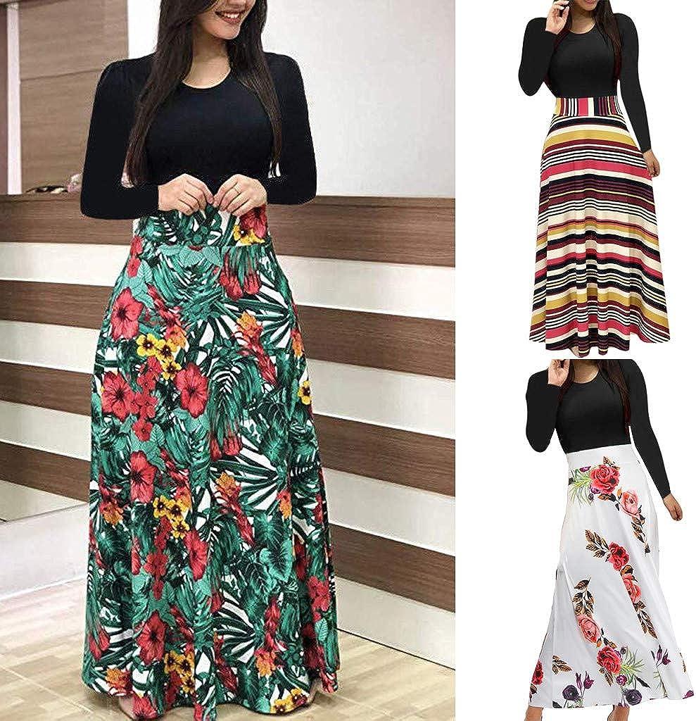 Leyben Womens Dress Fashionable Women Long Sleeve Floral Boho Print Long Maxi Dress Ladies Casual Dress