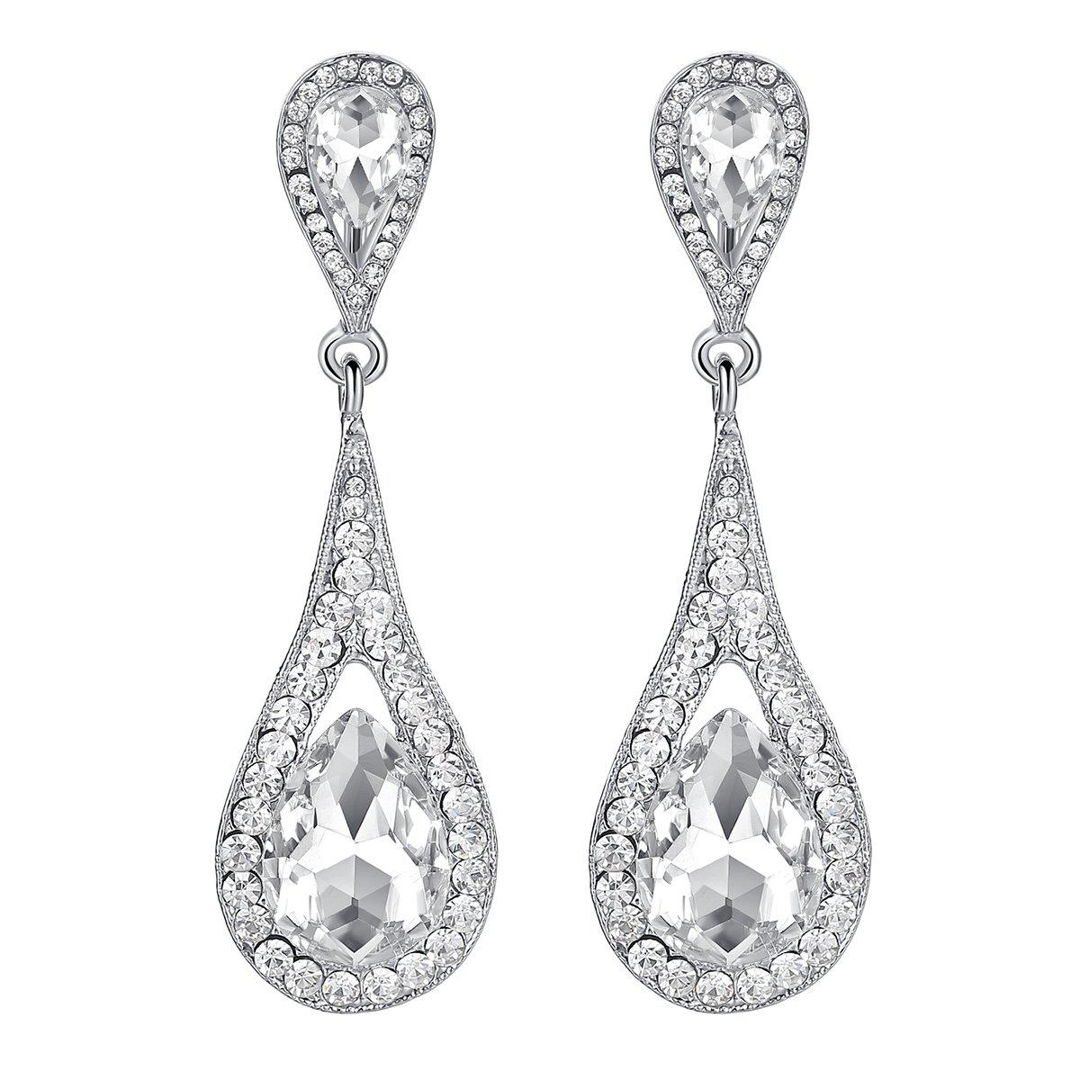Mecresh clair et champagne cristal Art Déco goutte d'eau Boucle d'oreilles Crochet pour fête ou mariage EH246-clear