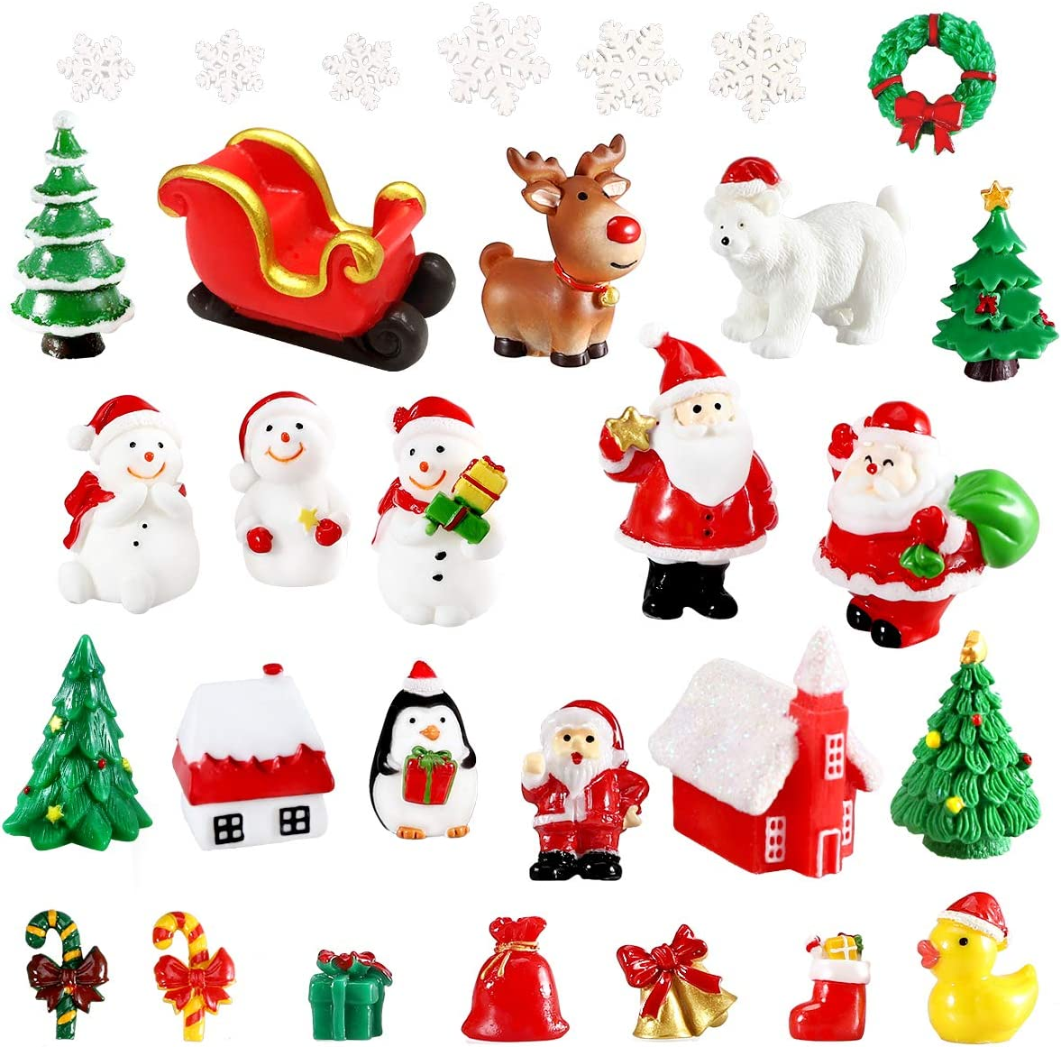 Urradia 30Pcs Christmas Miniature Figurines for Crafts Mini Ornaments Christmas Village Accessories Snow Globes Kits Fairy Garden Dollhouse Decorations for Xmas Party Santa Claus Snowman Reindeer