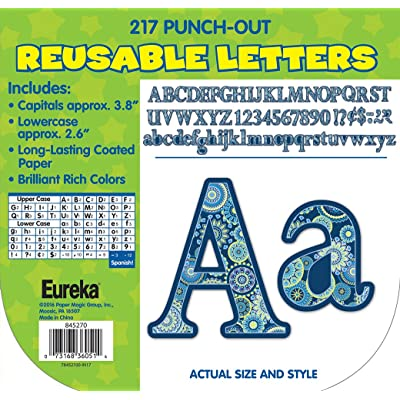 Eureka Back to School Blue Paisley Punch Out Letters for Classrooms, 217 pc, 3.8'' H : Home And Garden Products : Office Products