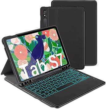 Jelly Comb - Funda con teclado retroiluminado para Samsung Tab S7, teclado desmontable Bluetooth QWERTZ con funda protectora para Samsung Tab S7 11