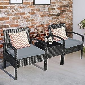 Tangkula 3 Piece Patio Conversation Set, Outdoor Rattan Sofa Set with Beige Seat Cushions & Coffee Table, Patio Wicker Furniture Set for Garden Balcony Backyard Poolside (Grey)
