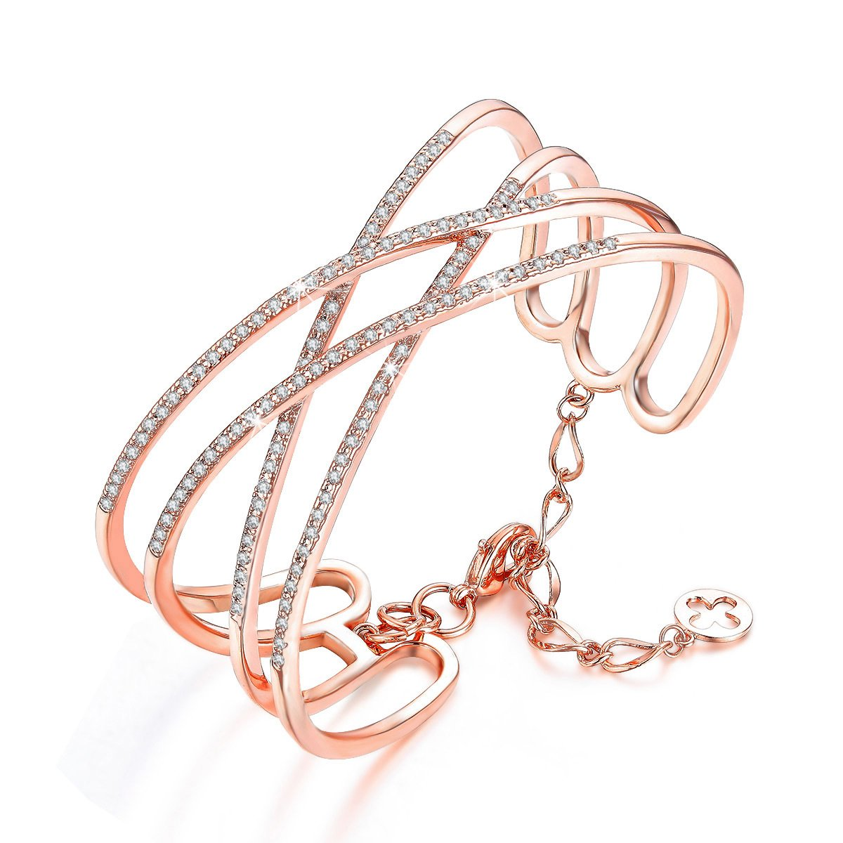 SPILOVE Serend Charm Cubic Zirconia Criss Cross Wide Cuff Bangle Bracelet in 18k Rose Gold Plated Women Jewelry, Gifts for Graduation