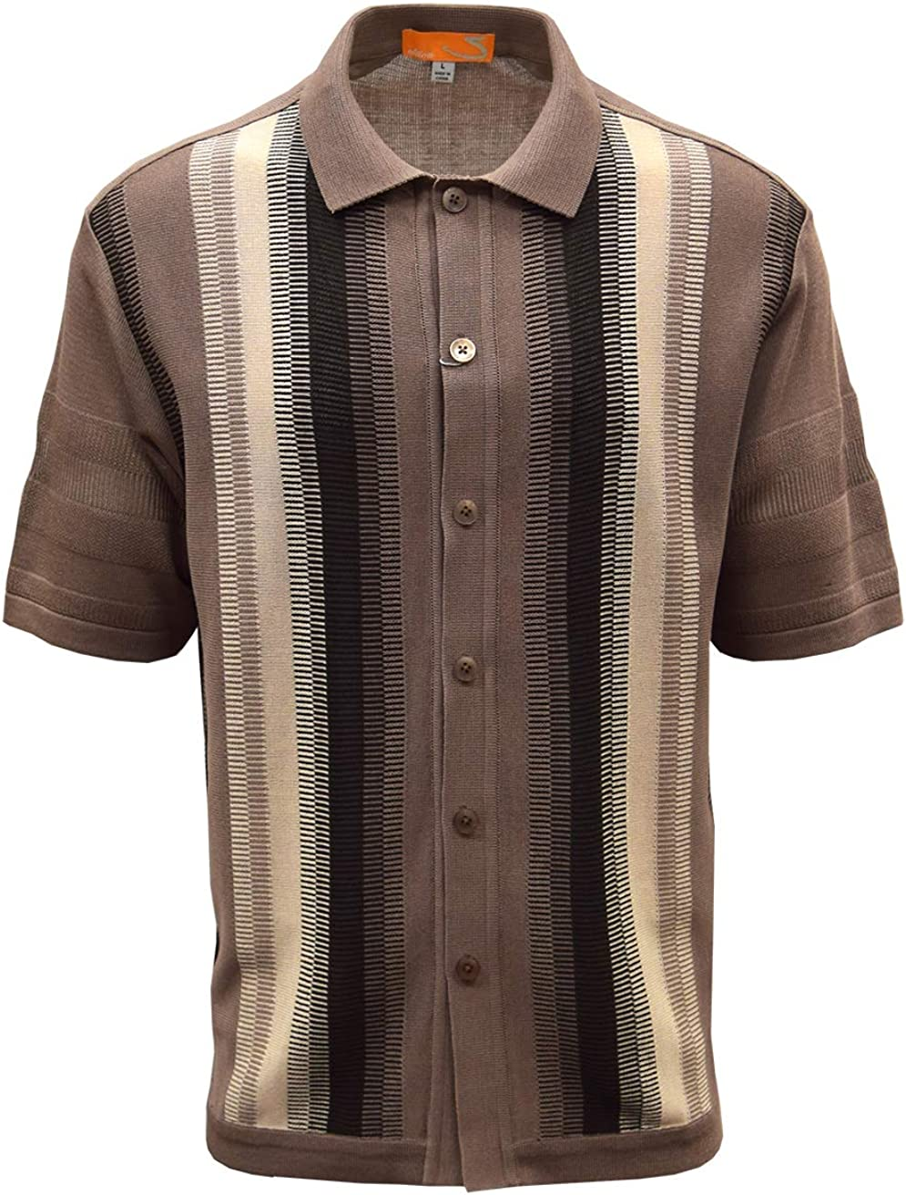 Mens Vintage Shirts – Casual, Dress, T-shirts, Polos SAFIRE SILK INC. Edition-S Men's Short Sleeve Knit Shirt- California Rockabilly Style: Vertical Geometric Comb Panel $49.00 AT vintagedancer.com
