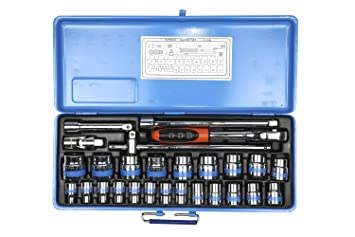 14 mm Cr-V,6-Point 9-Sockets Metric 6 mm SRUNV 1//4-Inch Drive Deep Socket Set