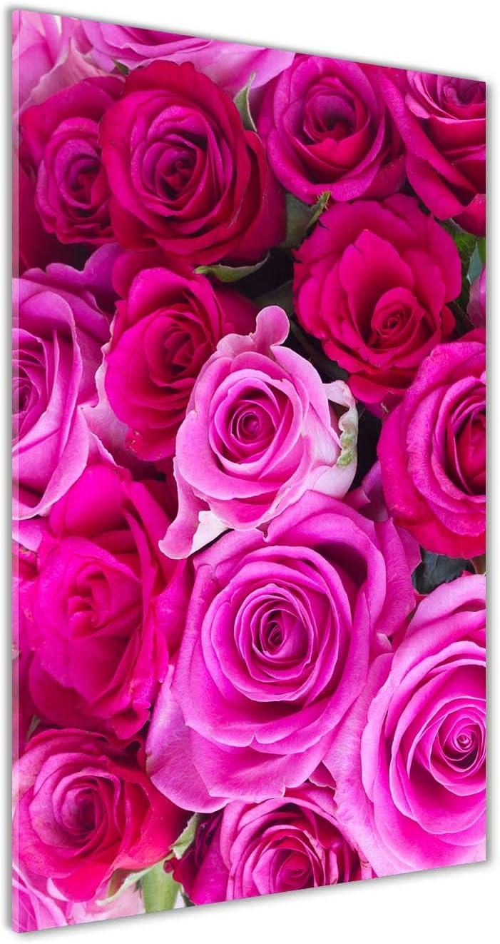 Tulup Impresión en Vidrio - 70x140cm - Cuadro sobre Vidrio - Pinturas en Vidrio - Cuadro en Vidrio - Impresiones sobre Vidrio - Cuadro de Cristal - Flores Y Plantas - Rosado - Rosas Rosadas