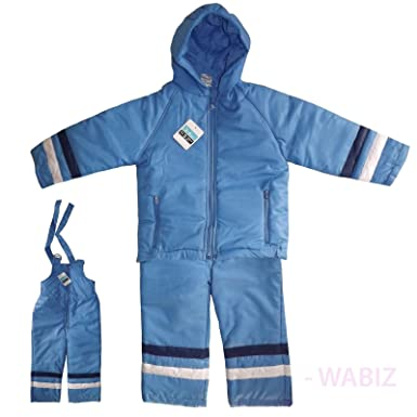 211cbb65654b Kids Padded Puddle All-in-One Waterproof Blue Suit Snowsuit Trousers ...