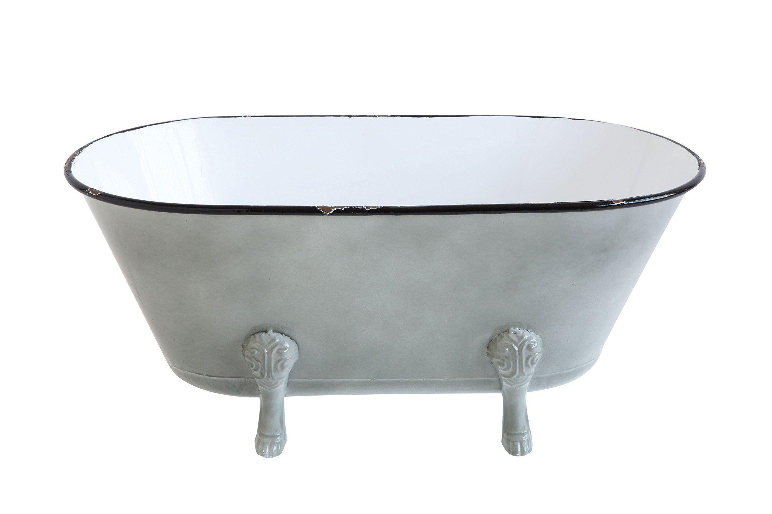 Creative Co-Op DA9178 Decorative Metal Bathtub Container with Feet