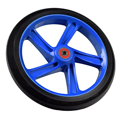 """Replacement Wheel for the Razor A5 Lux Kick Scooter 200 mm (8""""): Black Wheel with BLUE Hub: Toys & Games"""