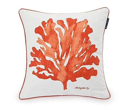 Lexington Funda de Cojín, Diseño Coral Algodón, Blanco y Naranja Individual, 50x50x0.2 cm