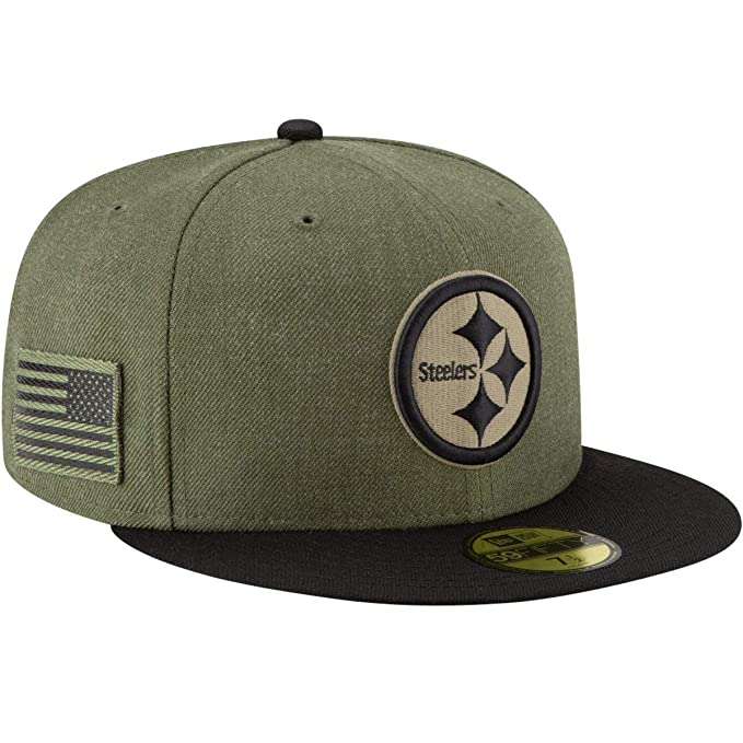 New Era 59Fifty Hat Pittsburgh Steelers On-Field Salute to Service Green  Fitted Cap ( 02ce7a96dea