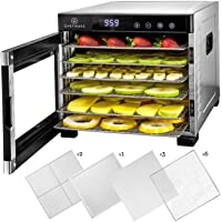 ChefWave 6 Tray Food Dehydrator Machine - Stainless Steel, Digital Temperature Control & Timer, 3 Teflon Sheets, 2 Mesh…