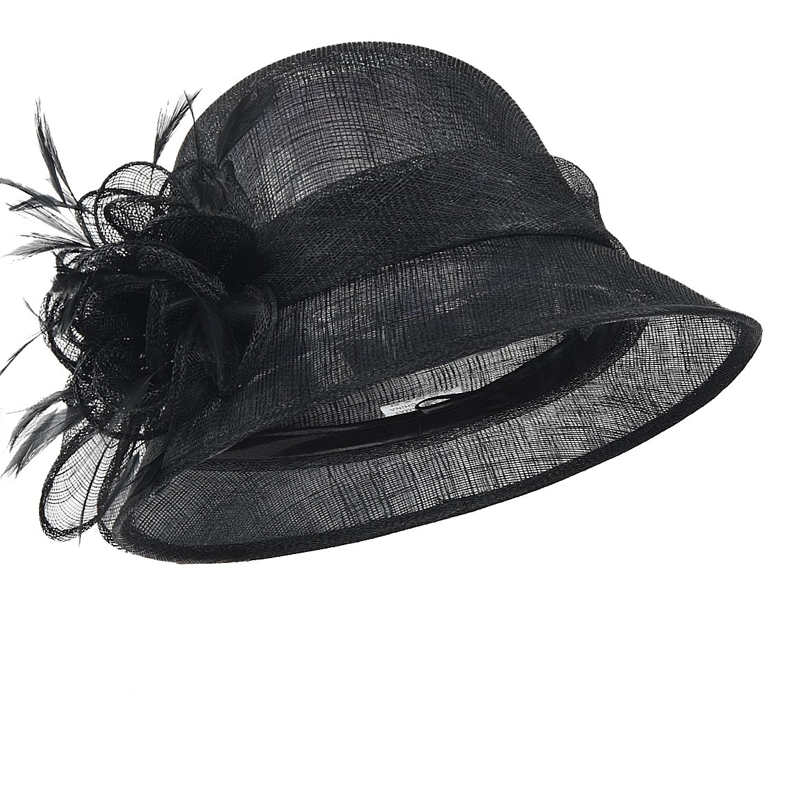 FORBUSITE Occasion Church Wedding Sinamay Cloche Hats for Women SM122 (Black)