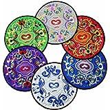 kilofly Vintage Ethnic Floral Design Placemat Value Pack, 6 pc Set, 7.7 inches