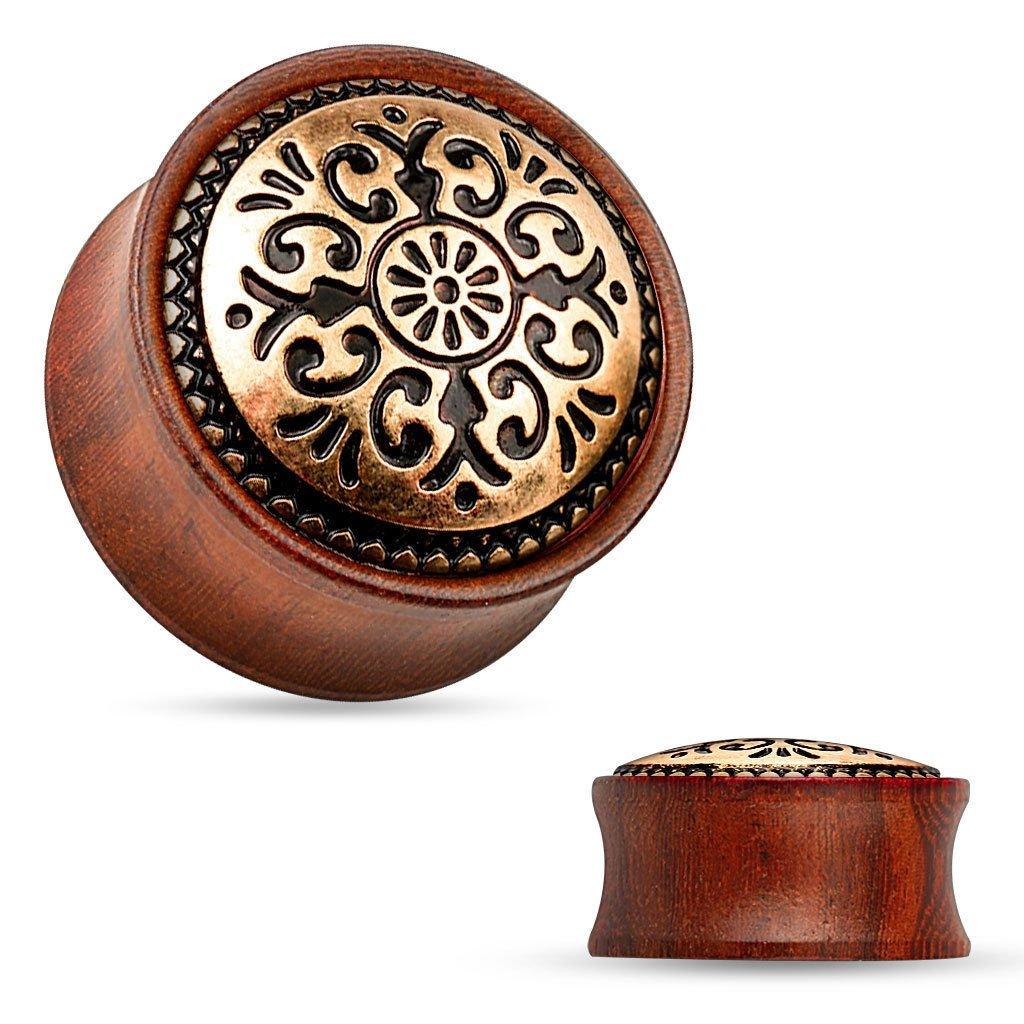 PAIR Antique Tribal Pattern Rose Wood Organic Saddle Plugs Body Jewelry (0g (8mm))