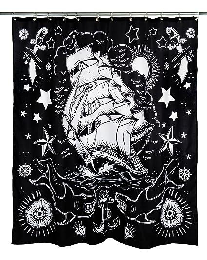 Amazon Unisex Too Fast Apparel Nautical Tattoo Shower Curtain