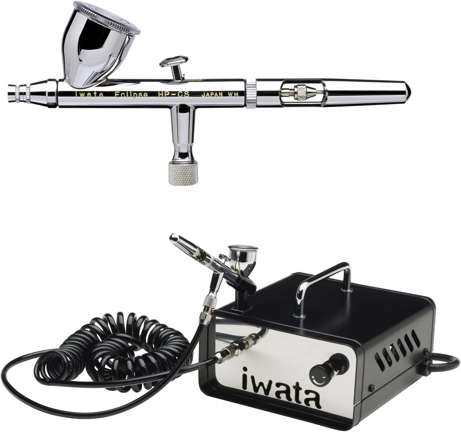 ECL 4500 Iwata Eclipse HP-CS Large Gravity Feed .35mm Airbrush with IS-35 Ninja Jet Studio Series Compressor