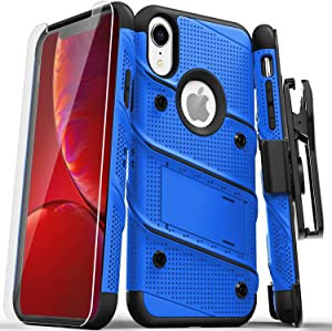 ZIZO Bolt Series for iPhone XR Case with Screen Protector Kickstand Holster Lanyard - Blue & Black