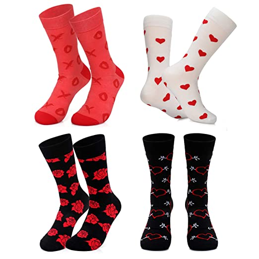 e862b6176af7 Valentines Day Gifts for Her Kiss Rose Love Fun Novelty Women Girl socks  Gift Idea