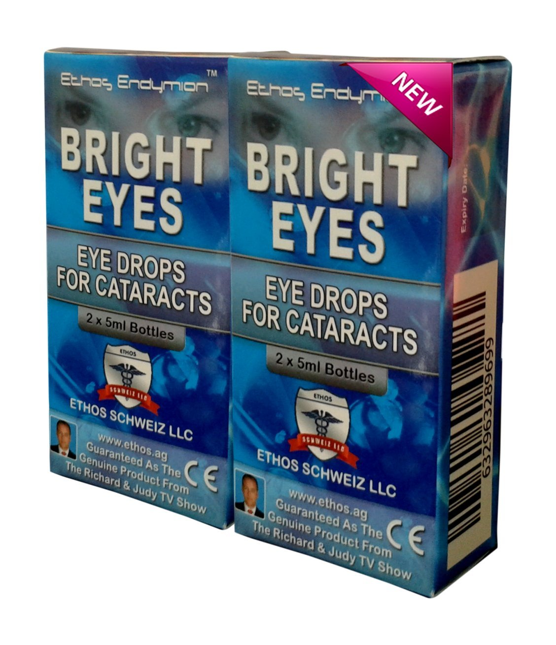 Ethos Bright Eyes™ Carnosine NAC Eye Drops - 2 Pack of 2 x 5ml Bottles(total 4 bottles) NAC Eye Drops (Safe for Cataracts Sufferers)NAC n acetyl carnosine eye drops