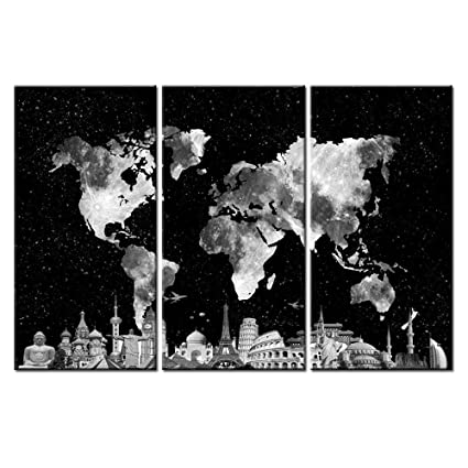 Amazon huge 3 pieces framed world map canvas wall art framed huge 3 pieces framed world map canvas wall art framed and stretchedready to gumiabroncs Image collections