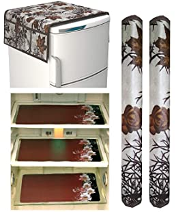 Royal Edition Combo of Designer Refrigerator Cover(Brown Leaf), 2 Handle Cover (Brown Leaf) and 3 Fridge Mats (Printed Brown) Standard Size; -Set of 6 Pieces