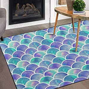 Naanle Watercolor Rainbow Mermaid Scale Non Slip Area Rug for Living Dinning Room Bedroom Kitchen, 3' x 5'(39 x 60 inches), Colorful Nursery Rug Floor Carpet Yoga Mat